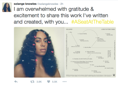 "Solange Knowles ""A Seat At the Table"" Tweet"